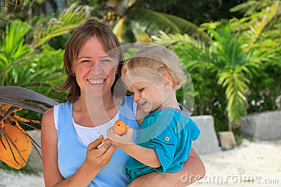 Family with coconut