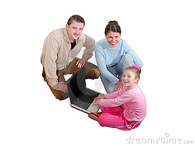 Family with computer