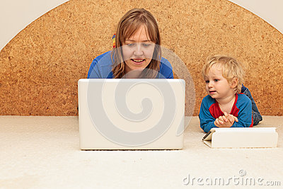 Family with computer at home