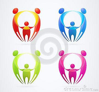 Family concept holding hands. vector illustration