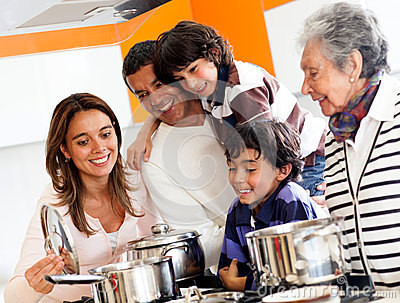 Family cooking at home