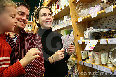 Family in cosmetic shop