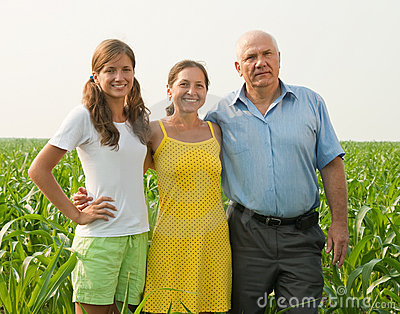 Family on countryside