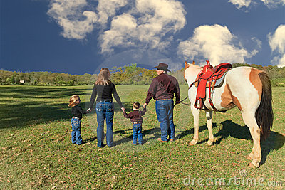 Family in countryside