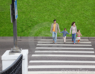 Family and crossing road