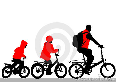 Family on cyclist