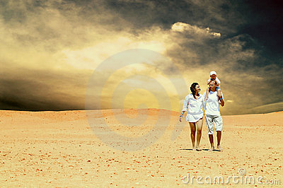 Family in desert