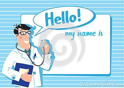 Family doctor design template stock vector image 39703469 for Dr name tag template