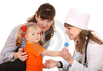 Family doctor and little girl.