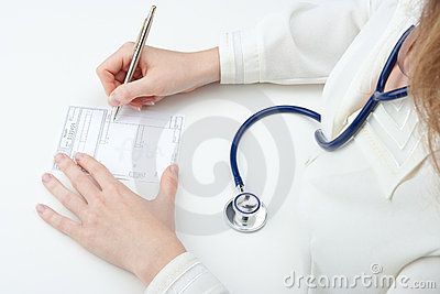 Family doctor write prescription (recipe)