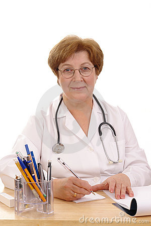 Family doctor writing prescription