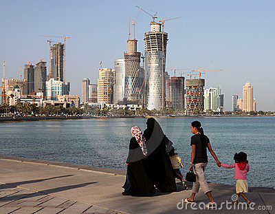 Family on Doha Corniche Editorial Stock Image