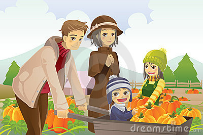 Family doing pumpkin patch