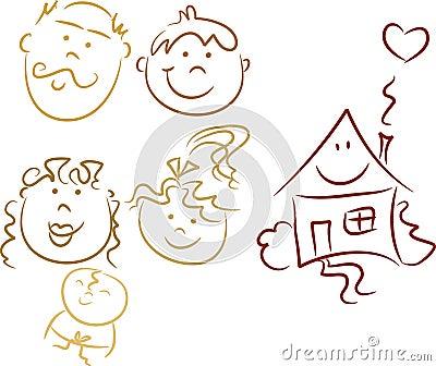 Family Doodles: Happy family
