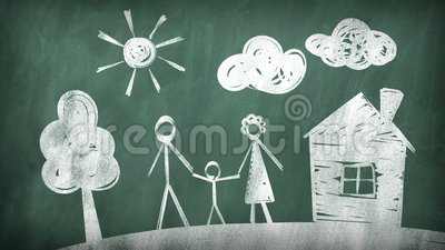 Family. drawing on a blackboard. 2d animation