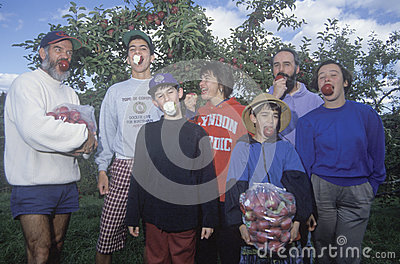 Family eating apples Editorial Photography