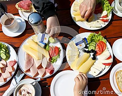 A family eating brunch