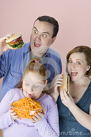 Family Eating Junk Food