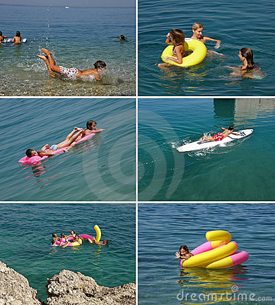 Family enjoying in blue sea (collage)