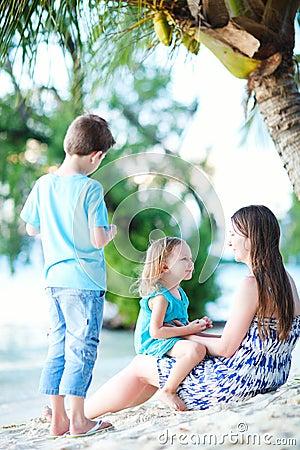 Family enjoying evening at beach