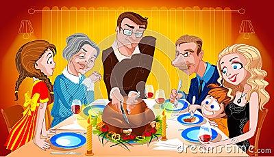 Family Enjoying Thanksgiving Day Turkey