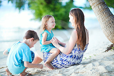 Family enjoying time at beach