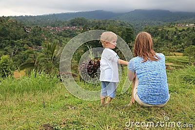 Family in rice fields
