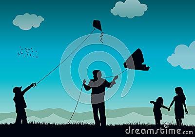 Family flying kite