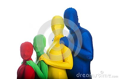 Family of four colorful people
