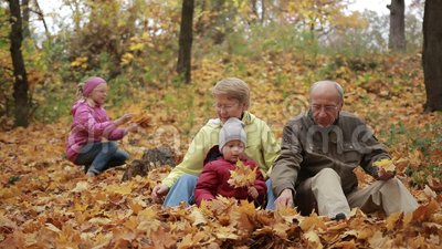 Family of four enjoying golden leaves in autumn stock footage