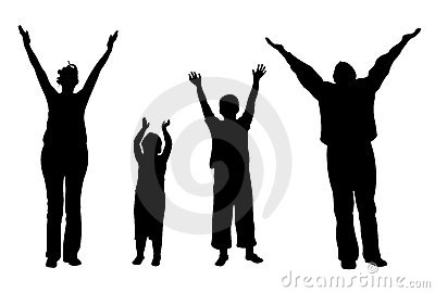 Family of four with hands up