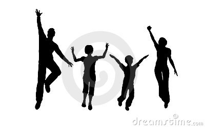 Family of four jump