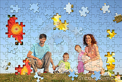 Family of four puzzle collage