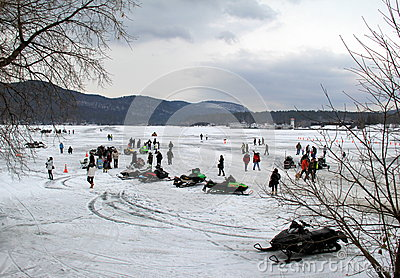 Family and friends gathered together for annual Winterfest celebration,Lake George,New York,February 2nd,2014 Editorial Photo