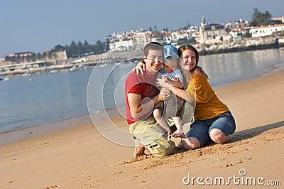 Family fun at sandy beach
