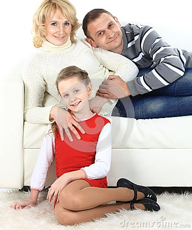 Family with girl sitting