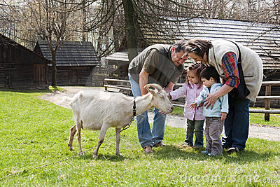 Family with goat