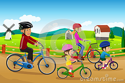 Family going biking together