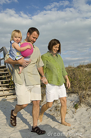 Free Family Going To Beach Stock Image - 8113261