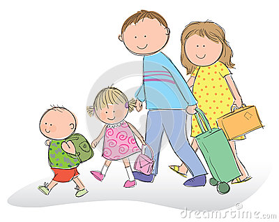 Family Going On Vacation Cartoon Vector