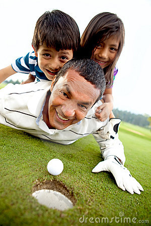 Family at the golf course