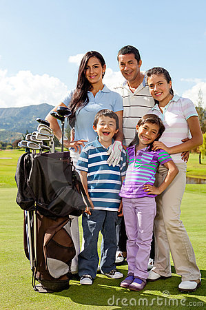 Family at a golf field