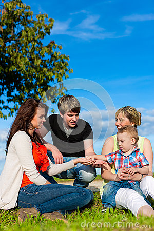 Family - Grandmother, mother, father and children