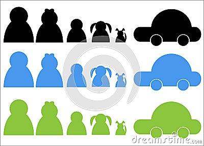 Family Group Dog Car Logo
