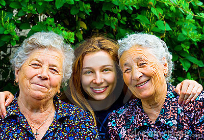 Family group - two senior ladies and young woman