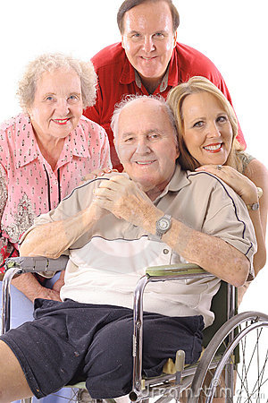 Family with handicap father vertical