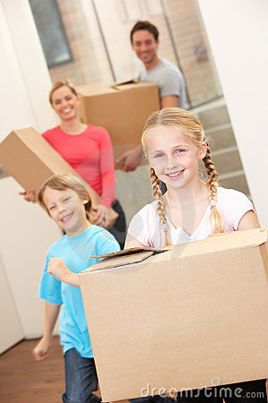 Family happy on moving day