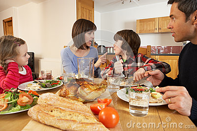 Family Having Argument Whilst Eating Lunch
