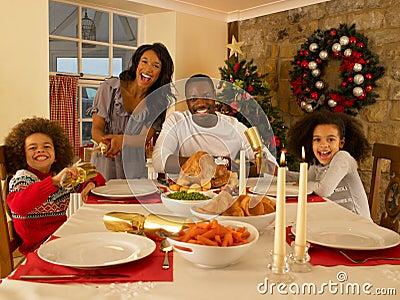 Family Having Christmas Dinner Hispanic