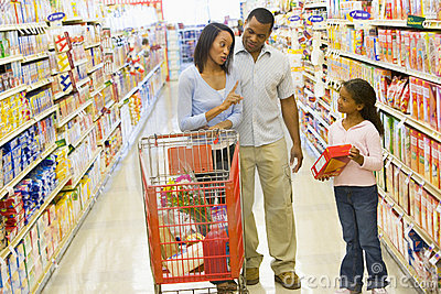 Family having disagreement in supermarket
